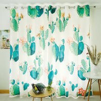 Personal Tailor 2x Grommet Window Draperies Window Curtain Living Room Window Dressing 200cm x 260cm Cactus White