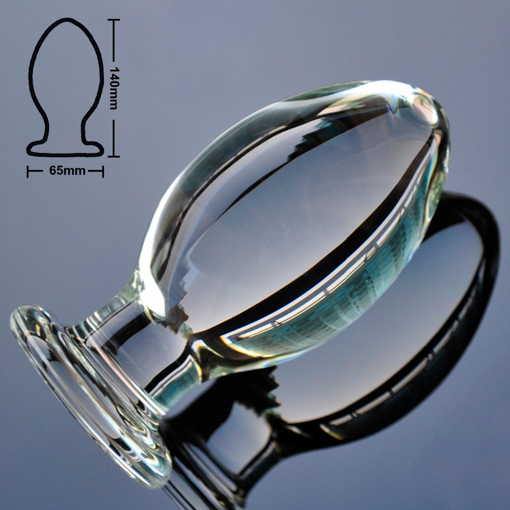 65mm Super large pyrex glass anal butt plug huge crystal dildo fake penis big ball sex toy for adult women men gay masturbation huge glass dildos realistic penis big anal butt plug anus beads stimulator in adult game erotic sex toys for women and men gay