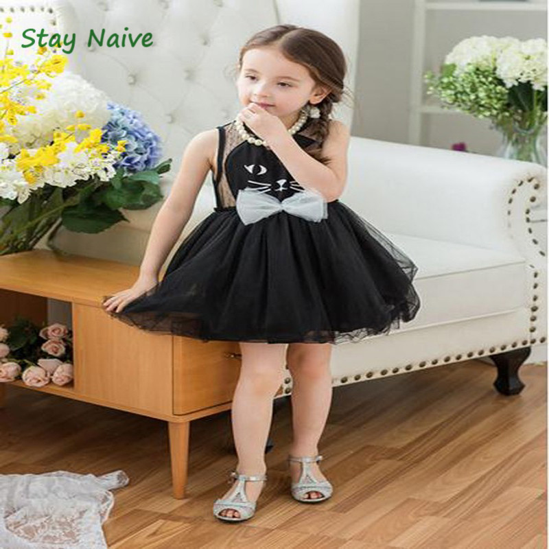 2017 New Arrival Summer Girl Dresses Cat Print Girls Clothes Baby Casual Dress Princess Party Children Costume monsoon girls dresses summer baby girls clothes kids dresses lemon print princess dress girl party cotton children dress 67