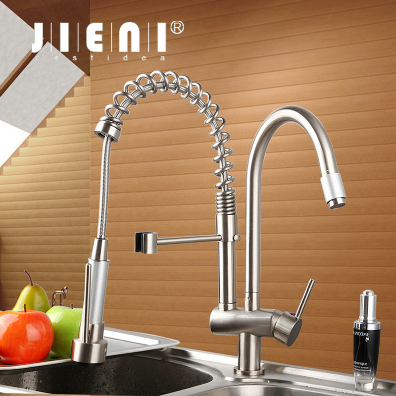 Nickle Brushed New Brand Double Spout Deck Mounted Double Handles Brass Body Polish Kitchen Mixer Tap Faucet CM-8525-7 antique brass swivel spout dual cross handles kitchen