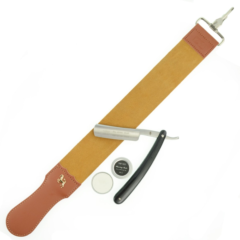 ZY430+ Shave Ready Shaving Straight Razor Cut Throat Knife + Genuine Sharpening Leather Strop For Men Barber Shave Beard vintage men shave beard straight shaving razor cut throat knife gold dollar 800 leather sharpening strop polishing paste
