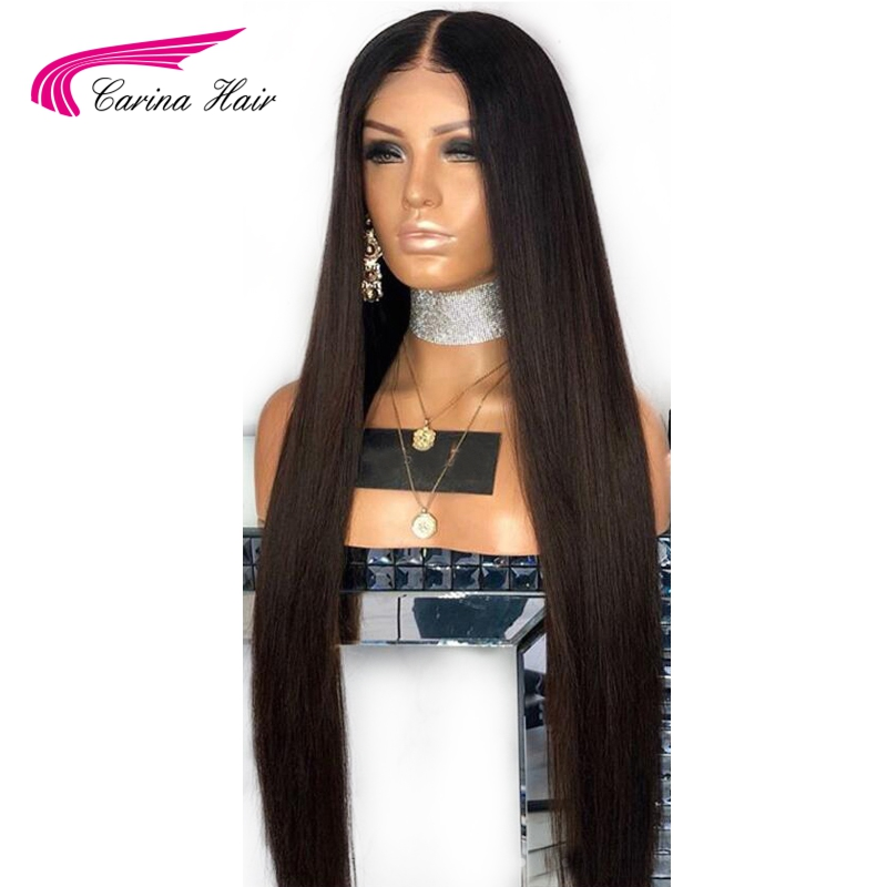 Carina Brazilian Human Hair Wigs With Baby Hair Full Lace Wigs Pre-Plucked Hairline Straight Remy Hair Glueless Wigs(China)