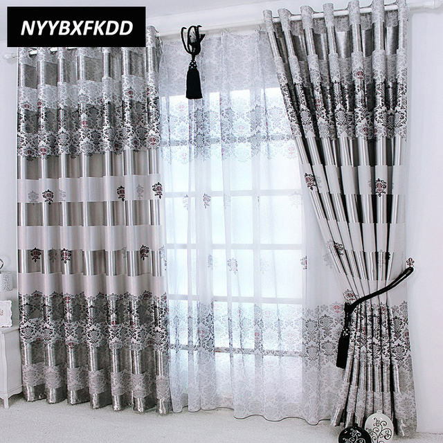 Curtains In Living Room Images Small And Kitchen Open Floor Plan Gray Blackout For Windows Drapes Europe Modern Elegant Noble Printing Shade Curtain Bedroom