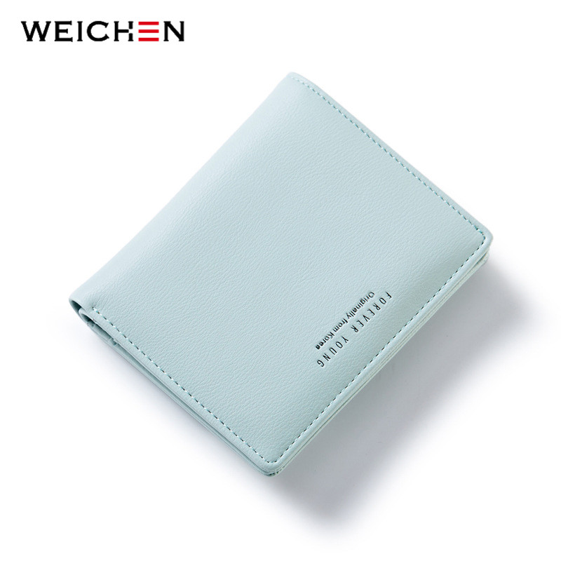 WEICHEN Women Lovely Zipper&Hasp Wallet, Fashion Lady Portable Small Solid Color PU Leather Change Purse, Hot Female Clutch fashion hasp and solid color design wallet for women