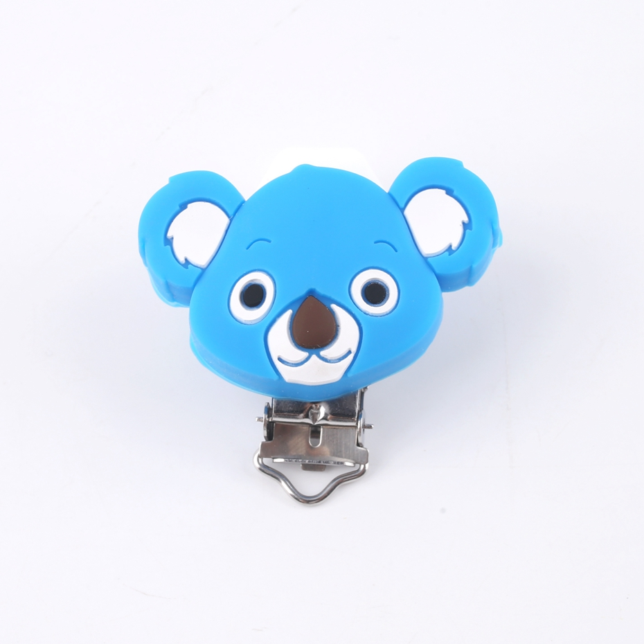 Bite Bites Koala Head Shaped Pacifier Clip Silicone Teething Accessories Clip Non-toxic Nipple Clasps DIY Bead Tool Baby Teether