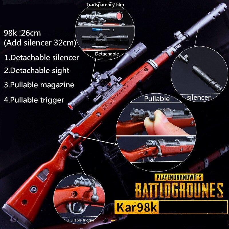 26 CM Game PUBG 98K AKM AWM Weapon Detachable Gun Model  Keychain Of High Quality Key Chain Game Lover Gifts