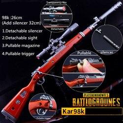 26 cm jogo pubg 98 k akm awm arma destacável arma modelo chaveiro de alta qualidade chaveiro jogo amante presentes