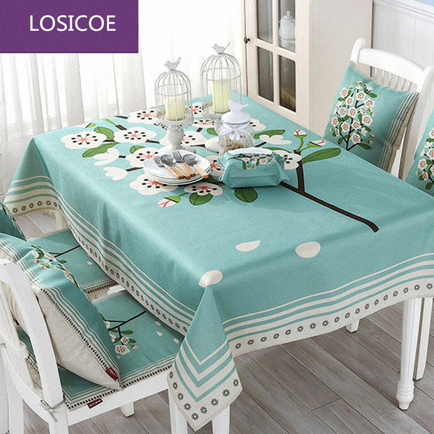 New Arrival Green Fashion Plaid Table Cloth Dining Chair Cushion Seat Cover Green Table Cloth Pastoral Cloth Suit In Short Supply Tablecloths