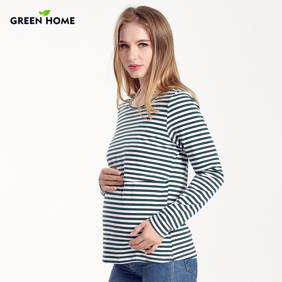 Green Home Cotton Long Sleeve Maternity Tops Striped Pregnant Clothes T-Shirt for Pregnancy Women Breastfeeding Nursing Clothing green home two layers maternity nursing tops for pregnant women breastfeeding pregnancy t shirt funny fashion maternity clothing