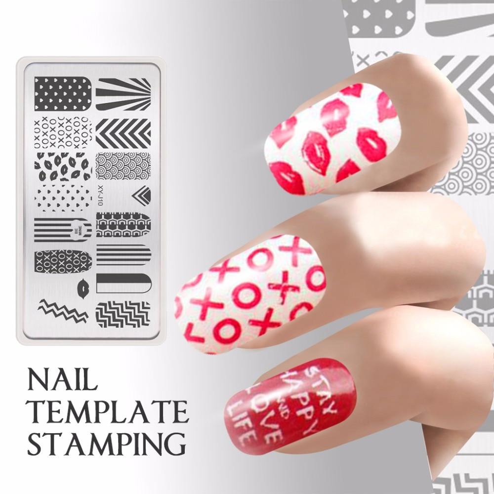 웃 유facile Réutilisable Stamping Nail Art Stamp Modèle Pochoir