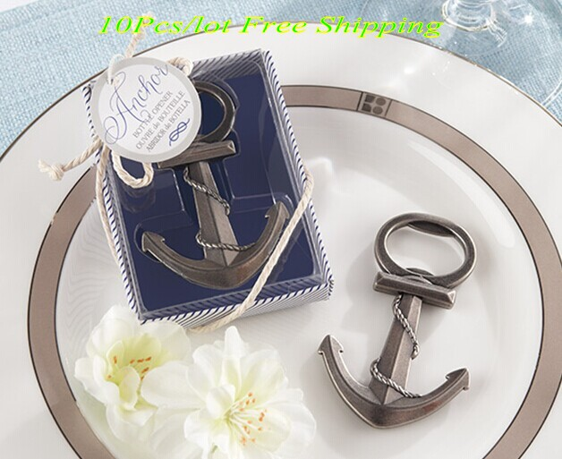 (10 Pieces/lot) Unique Beach themed Wedding and Party Favors of Anchor Nautical-Themed Wedding Bottle Opener Event Keepsake
