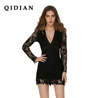 QI DIAN 2018 Spring New Women S Lace Dresses Floral Crochet Hollow Out Vestido Patchwork Casual