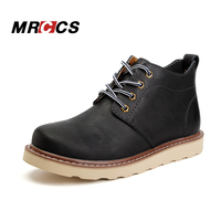 MRCCS Comfortable Warm Short Plush Fur Winter Ankle Boots Spring Autumn Leather Casual Shoes Lace Up