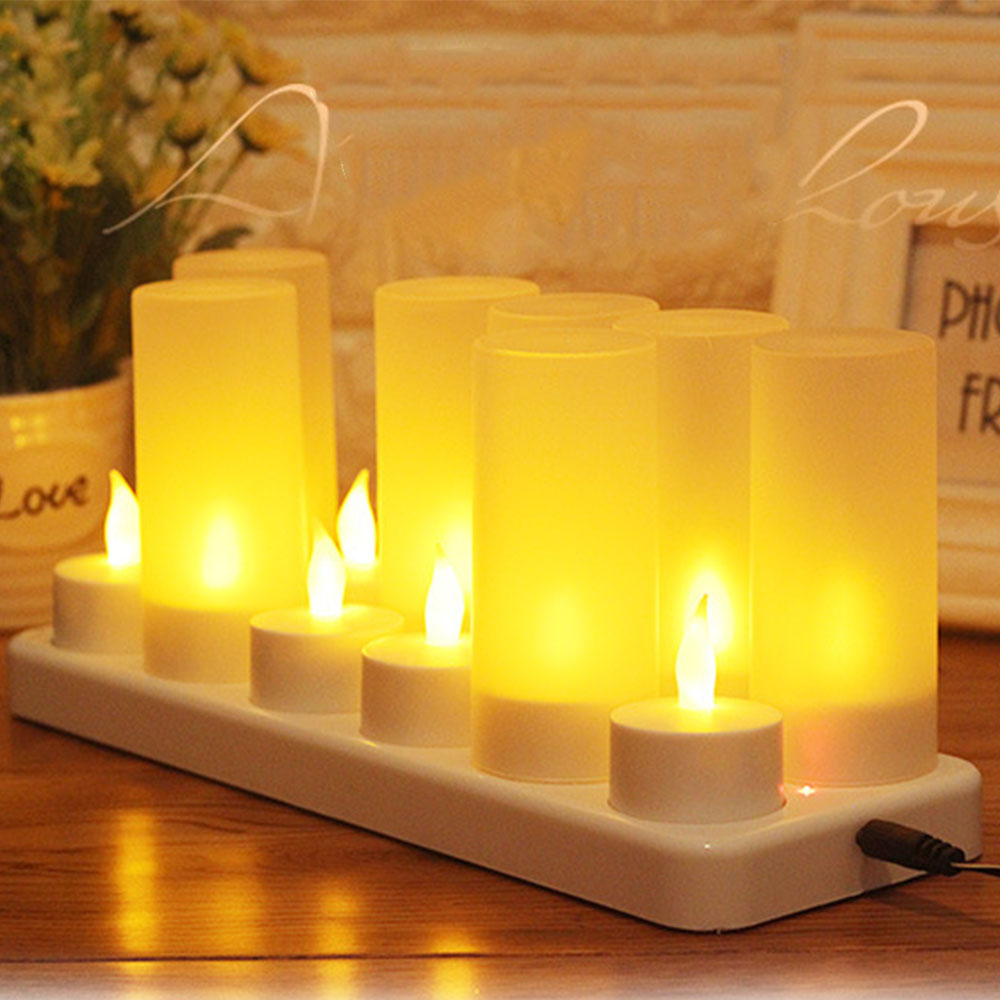 12pcs/set Remote Controlled Led Candles Flickering Frosted Rechargeable Tea Light/electronics Candle Lamp Wedding Pary Light Hot Delaying Senility Lights & Lighting