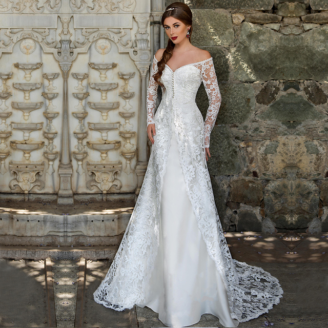 2017 Two 2 Pieces Wedding Dress With Lace Overcoat Long Sleeve A Line Court Train Bride