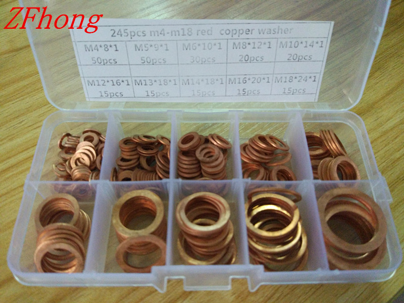 245pcs M4 TO M18 T2 Red Copper Washer Assortment/Kit/Set image