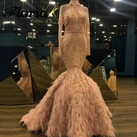 African Mermaid Feather Evening Dresses Turkish Arabic Dubai Beaded Prom Gowns Party Dress Glitter Abendkleider 2018 Vestidos