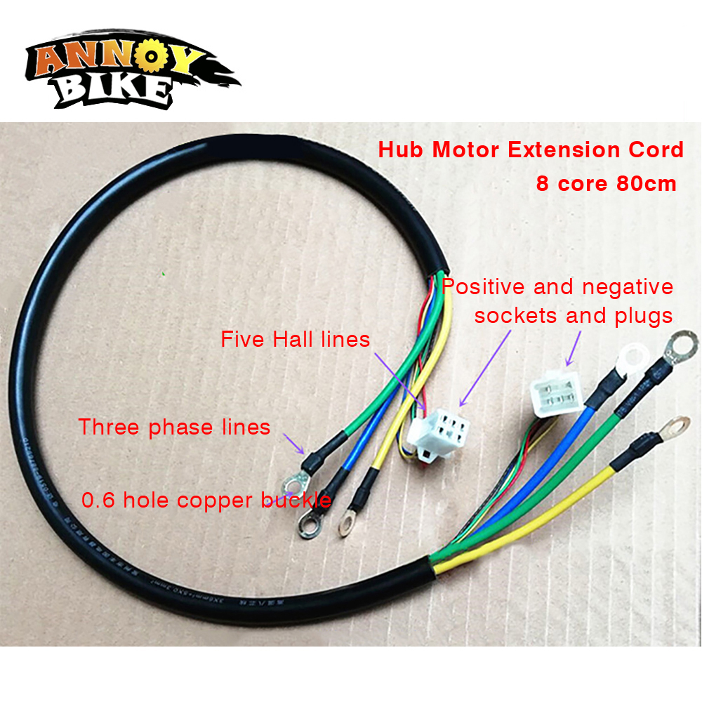 eBike Front Rear Wheel Hub Motor Wire 9 Pin Extension Connection Cable 90//150cm