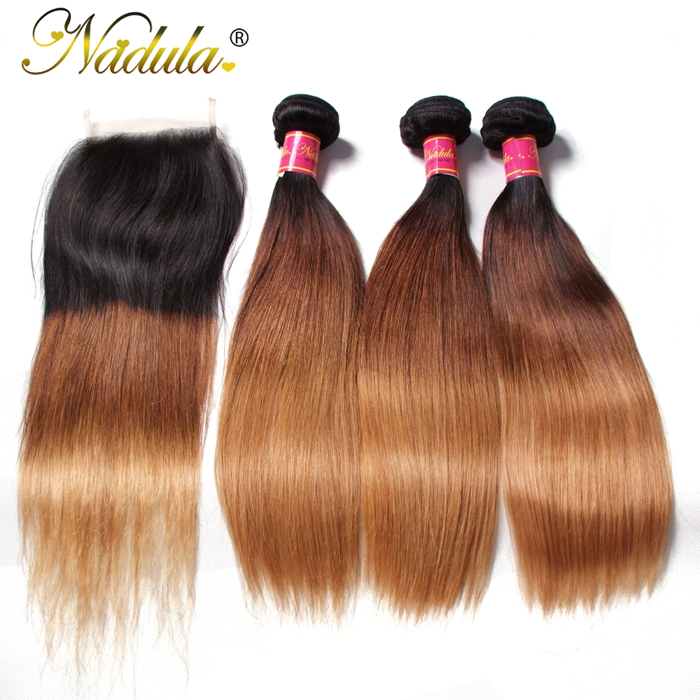 Nadula Hair Products 7A Peruvian Hair Ombre Weaves 3/4Bundles With Closure 1B-4-27 Straight Human Hair Remy Extensions