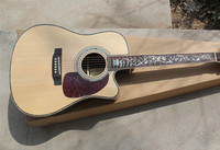 Factory Custom 41'' Cutaway Solid Spurce Top Maple Back Side natutal Acoustic Guitar can add Fishman pickup EQ