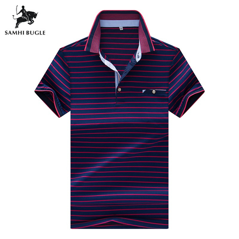 Brand Men Clothing 2019 Mens Business Casual   Polo   Shirt Men Stripe Short-sleeved Summer Cool Lapel   Polo   Ralphmen Pol Shirt   Polo