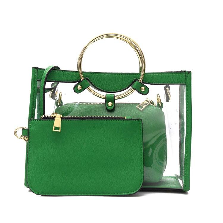 Women Clear Jelly Handbags Transparent Tote Clutch Korean Beach Cool Crossbody Shoulder Las Bolsos De Pvc Composite Bag In Top Handle Bags From