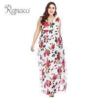 Plus Size New Sexy Women Floral Print Summer Dress Sleeveless O Neck High Waist Elegant Ladies Maxi Long Dresses for Women White