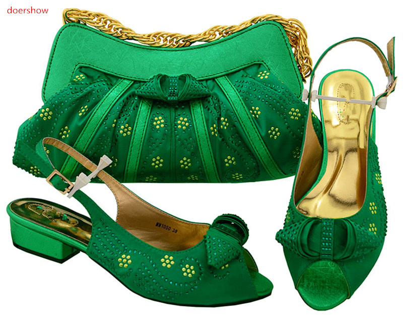 doershow  Shoe and Bag Set for Party In Women Green Color Italian Shoes and Bags To Match Shoes with Bag Set  HSK1-24 doershow high quality italian shoe and bag to match women shoes african party shoes and bag set green with rhinestone kh1 3