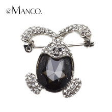 luxury Large black crystal Big rabbit brooches eManco 2015 New High Quality Fashion bijoux Creative gift BR02777(China)