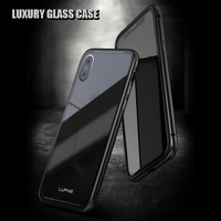 Luphine For Apple Iphone X 10 Case Luxury Armor Aluminum Metal Bumper Transparent Tempered Glass Back