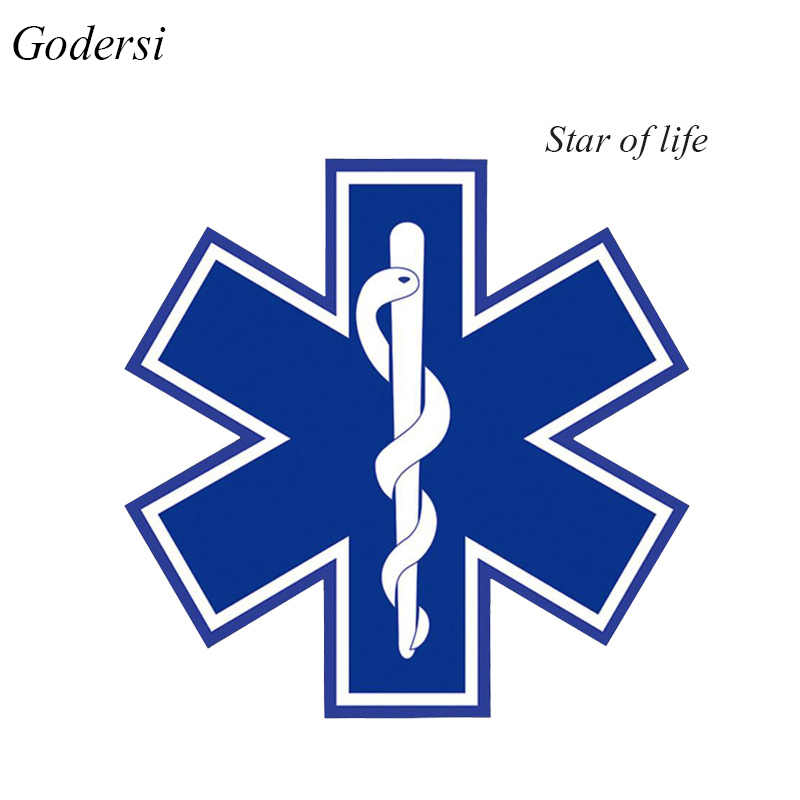 Godersi Car Sticker STAR OF LIFE 10cm*10 cm Highly Reflective Vinyl Hart Hat Tail Decal Auto Reflective Sticker