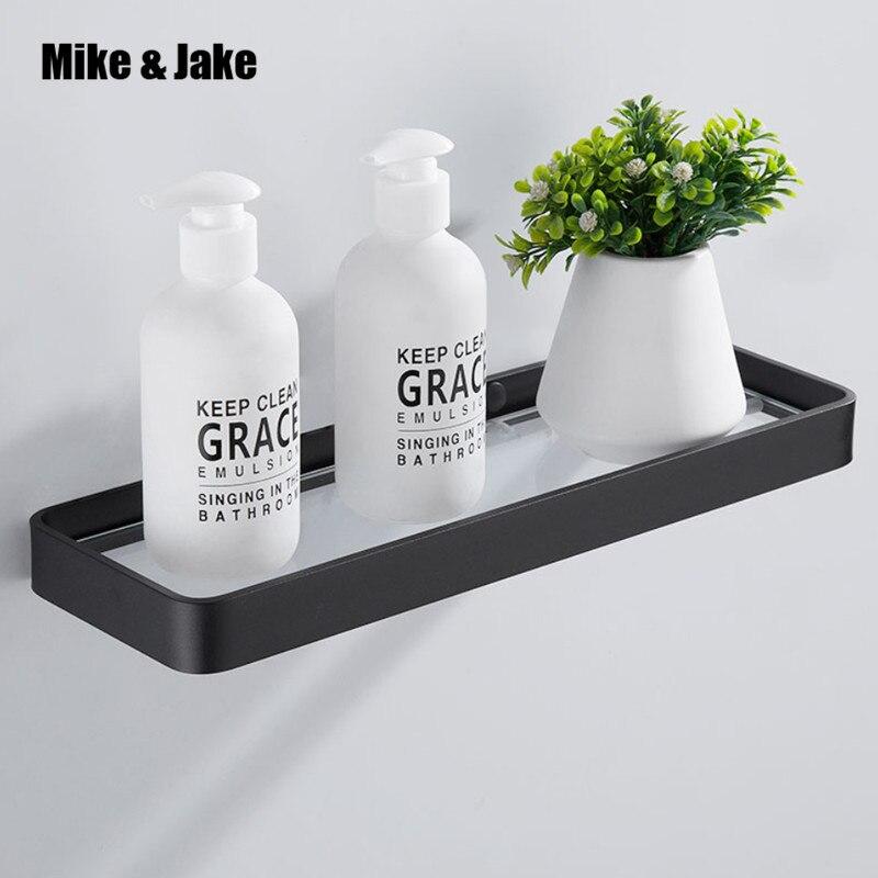 Black Aluminum Bathroom Glass Shelf 25cm 35cm 45cm Square Bathroom Glass Shelves Shower Room Rack Cosmetic Shelf Bathroom Shelves Aliexpress