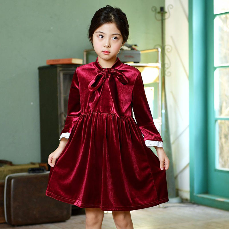 Christmas red petal sleeve girls long sleeve dresses for autumn winter clothing 2018 feelce elegant girls dresses kids clothes petal sleeve self tie blouse