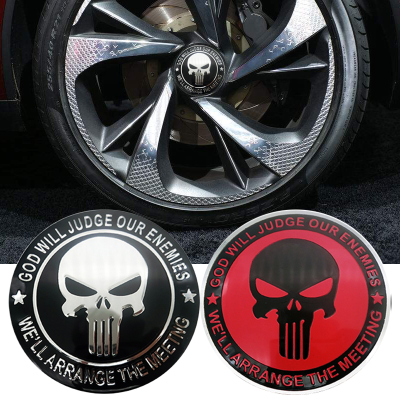 4pcs 56.5mm Cool The Punisher Car Steering Tire Wheel Center Sticker Hub Cap Emblem Badge Decals Symbol Car Styling Accessories