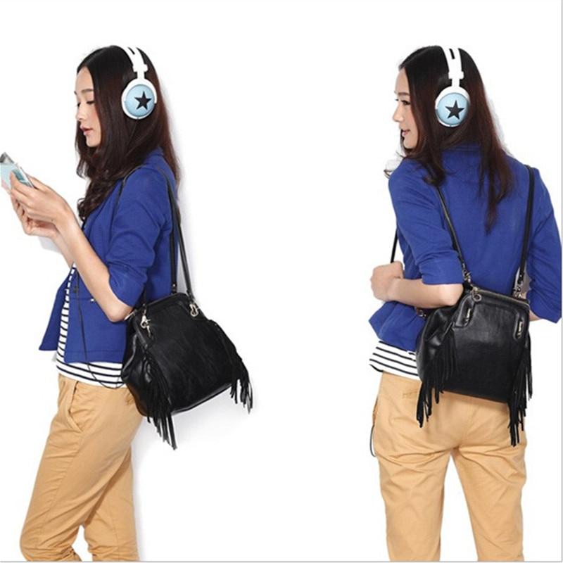 3 Use 2015 Fashion Backpacks Women Multifunctional Rivets Tassel Backpacks Bolsa Backpack Mujer Classic Leather Backpack
