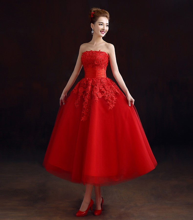 latest design tea length red wedding dress with lace