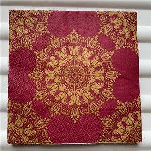 Image 3 - 20 Vintage Khăn Ăn giấy sang trọng mô khăn tay đỏ vàng xanh lá hoa tím decoupage servilletas tiệc cưới trang trí nhà