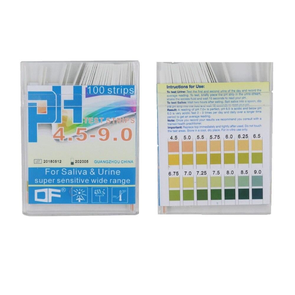 100 Strips PH4.5-9.0 Alkaline PH Test Paper Strips Indicator Litmus Testing For Body Level Urine & Saliva  30%off