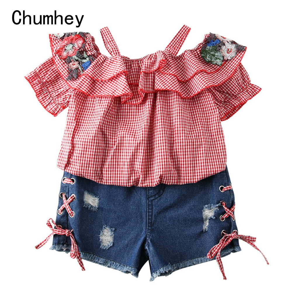 Chumhey 3-10T Baby Girls Clothing Sets Summer Short Sleeves T Shirt + Cute Jeans Shorts Children Clothes Kids 2 Pcs Summer SetsChumhey 3-10T Baby Girls Clothing Sets Summer Short Sleeves T Shirt + Cute Jeans Shorts Children Clothes Kids 2 Pcs Summer Sets