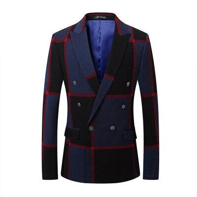 Men's Casual Suits 2018 Spring New Style Korean Version Business Professional Suit Fashion British Lattice Blue CD50