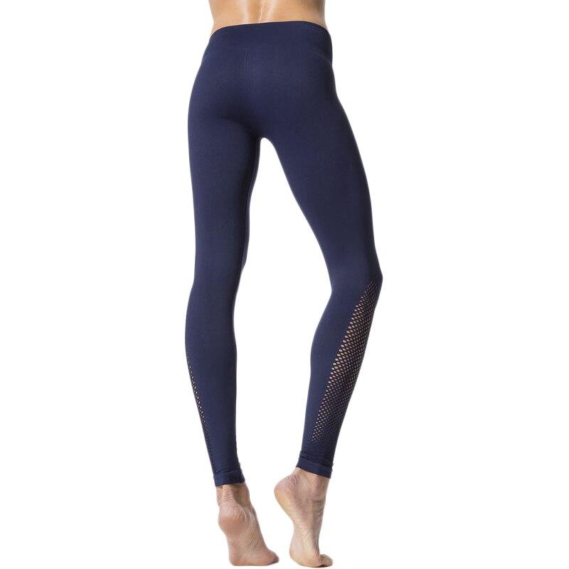 Kaywide Navy Blue Mesh Patchwork Yoga Pants High Waist