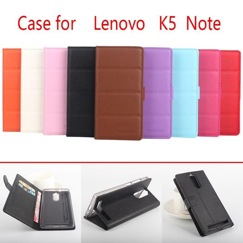 Для Lenovo K5 Note Телефонов Дело Фолио Флип Pure Color Личи Шаблон PU Кожаный Бумажник Чехол Обложка Наличный/Карты Слоты SH