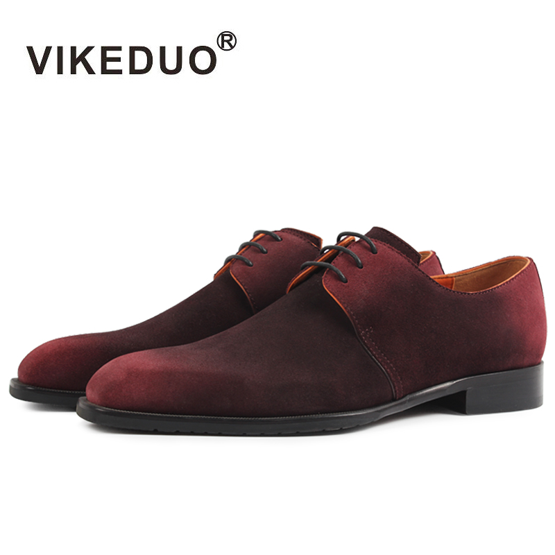 2dda792a53f40 Vikeduo 2019 New Real Luxury Flat Men Derby Shoes Fashion Suede Cow Leather  Handmade Men s Lace