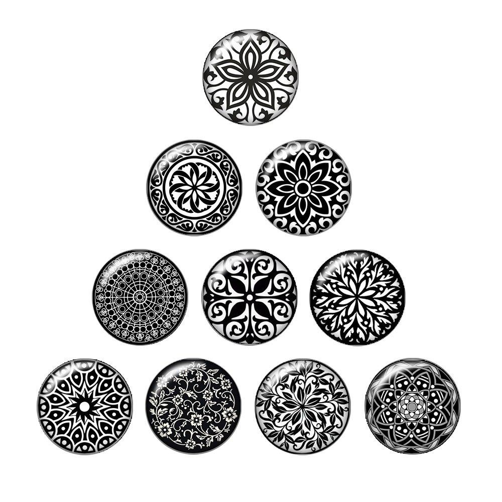 Модные Красота черный узор цветы 10 шт. 12 мм/18 мм/20 мм/25 мм круглый стеклянный кабошон демо плоской задней делая выводы ZB0489