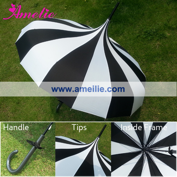 6Pcs Lot Free Shipping Wholesale Cheap Straight Pagoda Umbrella Black and White Stripe Patterns Sun Umbrella