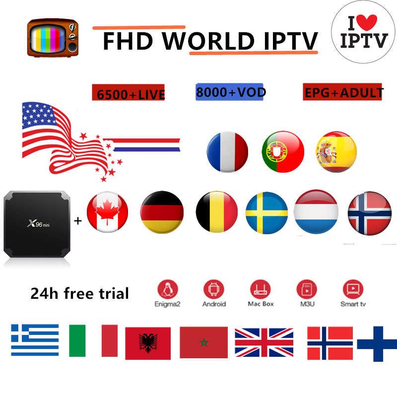 X96MINI французский IPTV BOX Европа Франция Великобритания Испания 4 к Португалия, Италия IPTV francais M3u Abonnement Германия США Канада голландский смарт