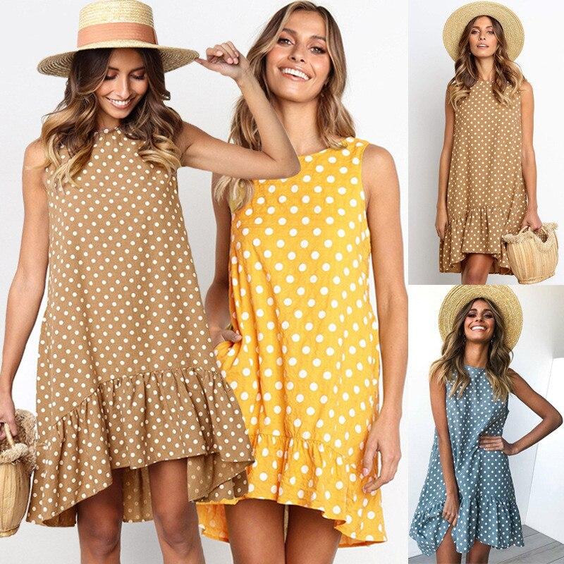 Sexy Sleeveless Women's Asymmetrical Dresses 2019 Summer Boho Beach Dress Casual Loose Dot Ruffles A-Line Dress Female Vestiods