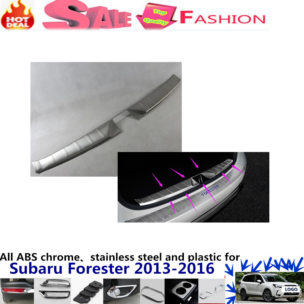 For subaru Forester 2013-2016 Car body styling cover Stainless Steel Inner built Rear Bumper Protector trim plate pedal 1pcs  stainless steel side door molding trim cover for 2013 up subaru forester