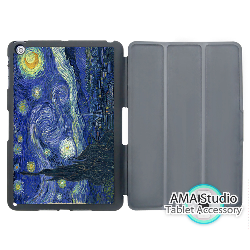 Van Gogh Starry Night Stand Smart Cover Case For Apple iPad Mini 1 2 3 4 Air Pro 9.7 Wake UP Sleep doctor who tardis police box smart cover case for apple ipad mini 1 2 3 4 air pro 9 7