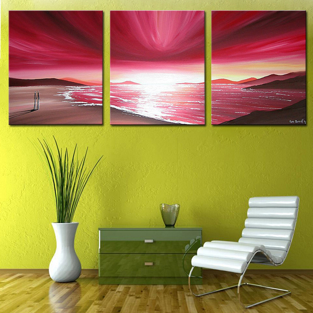 3 panels canvas wall art 100% Hand painted No frame beautiful ...